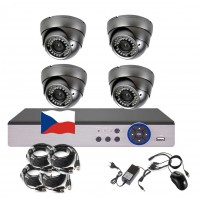 4CH 1080p AHD kamerový set STARLIGHT CCTV - DVR a 4x venkovní dome, 4x mot. ZOOM 2,8-12mm, CZ menu, P2P, HDMI, IVA, H265+
