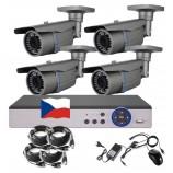 8CH 1080p AHD DVR kamerový set STARLIGHT CCTV - DVR s LAN a 4x venkovních bullet AHD IR kamer, 4xZOOM, CZ menu,P2P, HDMI, IVA, H265+
