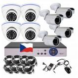8CH 1080p AHD kamerový set - DVR s LAN a 4+4x dome + bullet AHD IR kamer, CZ menu,P2P, HDMI, IVA, H265+
