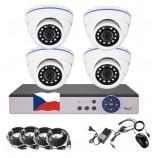4CH 1080p AHD kamerový set CCTV - DVR s LAN a 4x venkovních dome bílé IR kamer, CZ menu,P2P, HDMI, IVA,H265+