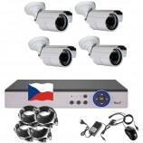 4CH 1080p AHD kamerový set CCTV - DVR s LAN a 4x venkovních bullet IR kamer, CZ menu,P2P, HDMI, IVA,H265+