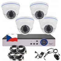 4CH 5MPx STARVIS AHD kamerový set CCTV - DVR s LAN a 4x venkovní bílé vari 2,8-12mm dome, 2688×1960px/CH, CZ menu,P2P, HDMI, IVA, H265+