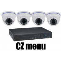 4CH 4MPx AHD kamerový set CCTV - DVR s LAN a 4x venkovních vari 2,8-12mm dome AHD IR kamer, 2688×1520px/CH, CZ menu,P2P, HDMI