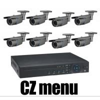 8CH 4MPx AHD kamerový set CCTV - DVR s LAN a 8x venkovních vari 2,8-12mm bullet AHD IR kamer, 2688×1520px/CH, CZ menu,P2P, HDMI