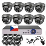 8CH 5MPx STARVIS kamerový set CCTV - DVR s LAN a 8x venkovních vari 2,8-12mm dome IR kamer, 2688×1960px/CH, CZ menu,P2P, HDMI, IVA, H265+