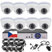 8CH 5MPx STARVIS kamerový set CCTV - DVR s LAN a 8x venkovních vari 2,8-12mm dome IR kamer W, 2688×1960px/CH, CZ menu,P2P, HDMI, IVA, H265+