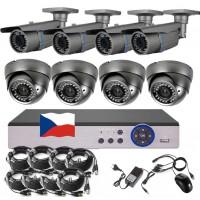 8CH 5MPx STARVIS kamerový set CCTV - DVR s LAN a 4+4 vari 2,8-12mm bullet/dome, 2688×1960px/CH, CZ menu,P2P, HDMI, IVA, H265+