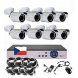 8CH 1080p AHD kamerový set - DVR s LAN a 8x bullet 2MPx IR kamer, CZ menu,P2P, HDMI, IVA, H265+