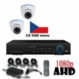 4CH 720p AHD kamerový set CCTV - DVR s LAN a 2x venkovních dome AHD IR kamer, 1280x720px/CH, CZ menu,P2P, HDMI