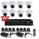 8CH 720p AHD kamerový set - DVR s LAN a 8x dome AHD IR kamer, 1280x720px/CH, CZ menu,P2P, HDMI, 1,0MPx