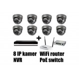 Kamerový IP set, 8x MHK 316LP FULL HD vari+ NVR6109F + router + POE switch 8 + 1